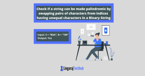 Check if a string can be made palindromic by swapping pairs of characters from indices having unequal characters in a Binary String