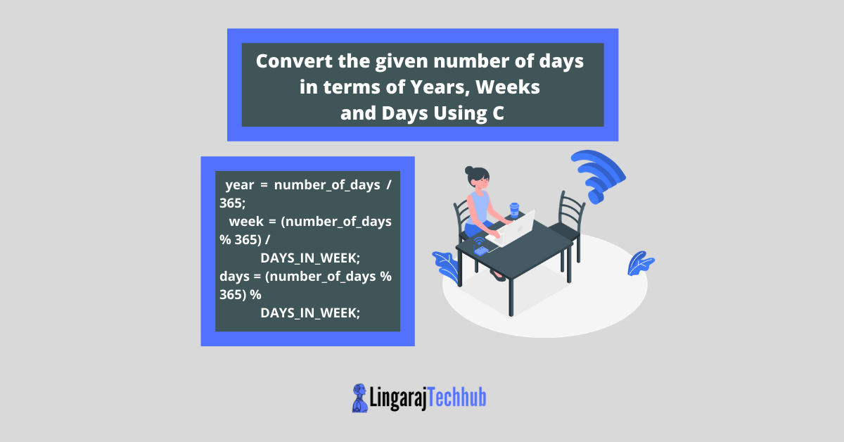 Convert the given number of days in terms of Years, Weeks and Days Using C
