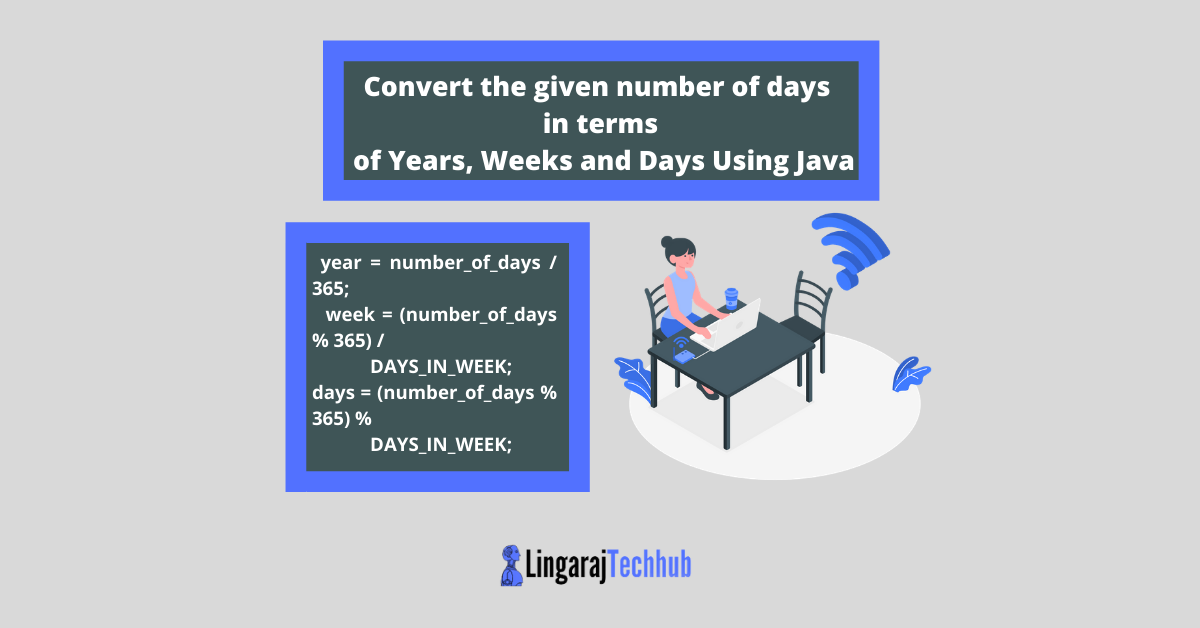 Convert the given number of days in terms of Years, Weeks and Days Using Java