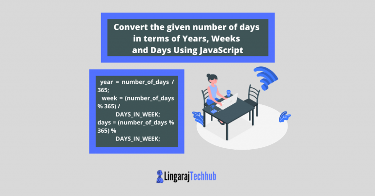 Convert the given number of days in terms of Years, Weeks and Days Using JavaScript