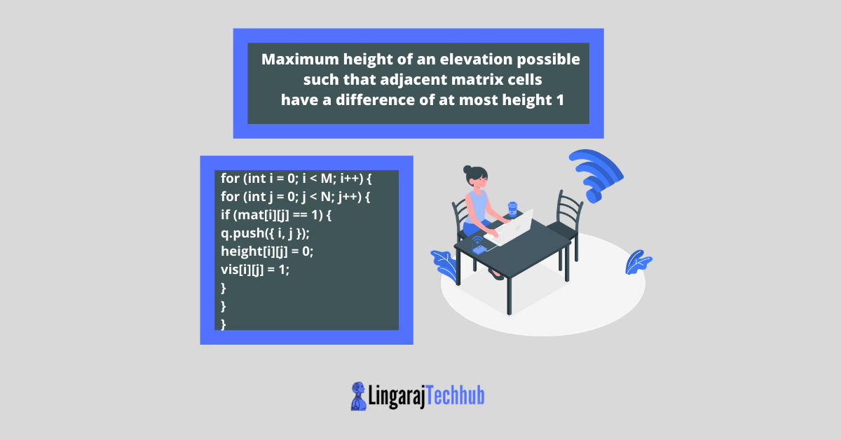 Maximum height of an elevation possible such that adjacent matrix cells have a difference of at most height 1