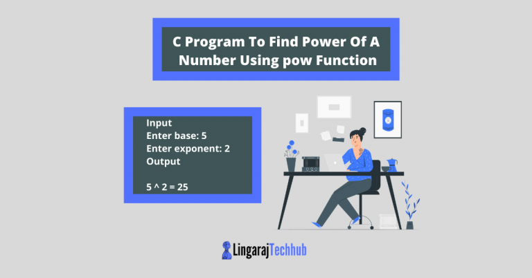 C Program To Find Power Of A Number Using pow Function