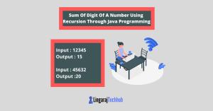 Sum Of Digit Of A Number Using Recursion Through Java Programming