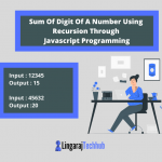 Sum Of Digit Of A Number Using Recursion Through Javascript Programming