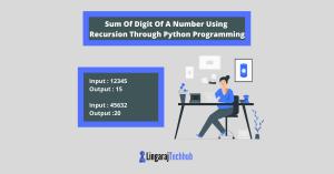 Sum Of Digit Of A Number Using Recursion Through Python Programming